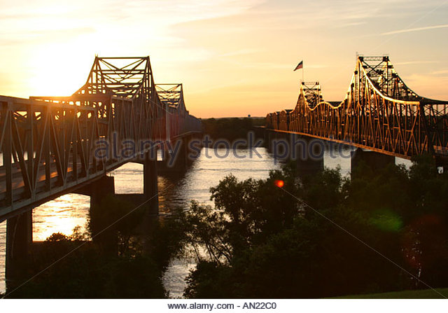 Mississippi Vicksburg Mississippi River Bridges sunset - Stock Image