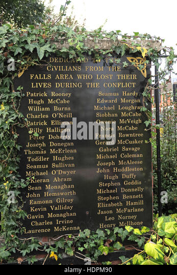 Falls Rd dedication,Garden of remembrance, IRA members killed,also deceased ex-prisoners,West Belfast,NI, UK - Stock Image