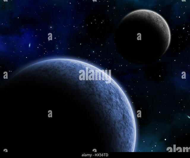 3D space background with fictional planets in a night sky - Stock Image