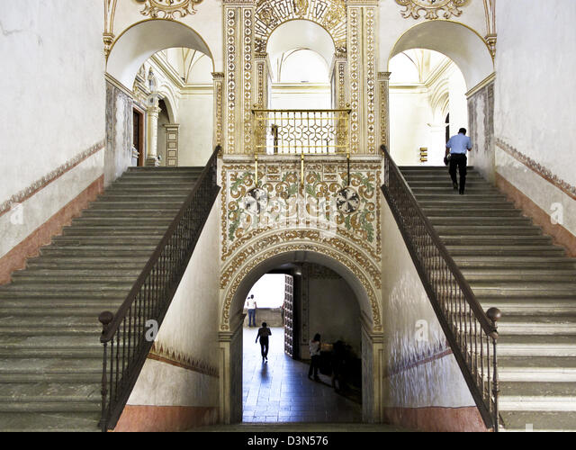 gilding & glowing frescoes of main staircase restored Monastery of Santo Domingo used as Museum of Oaxacan Cultures - Stock-Bilder
