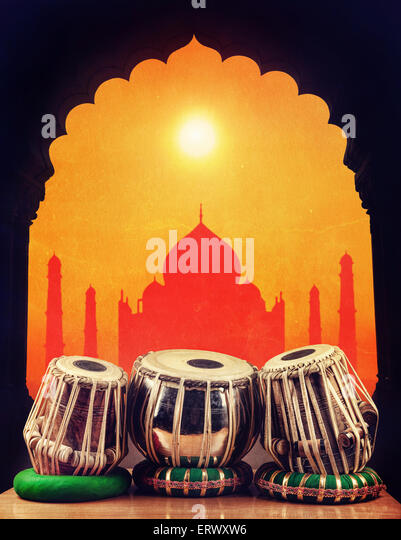 Indian classical music instrument tabla drums at Taj Mahal background in India - Stock-Bilder