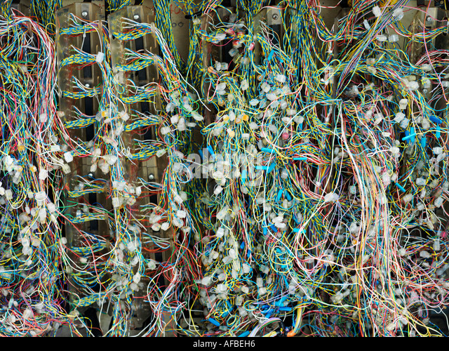 Mass of electrical wires - Stock Image