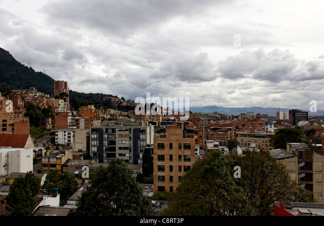 Impressions of sprawling Bogota, Colombia, from a rooftop perch - Stock Image