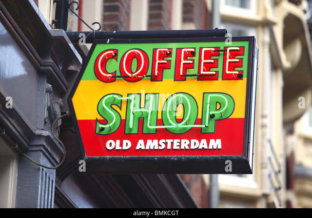 Amsterdam coffee shop sign, Holland. - Stock Image