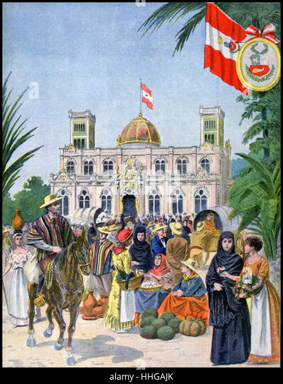Illustration showing the Peruvian Pavilion, at the Exposition Universelle of 1900. - Stock Image