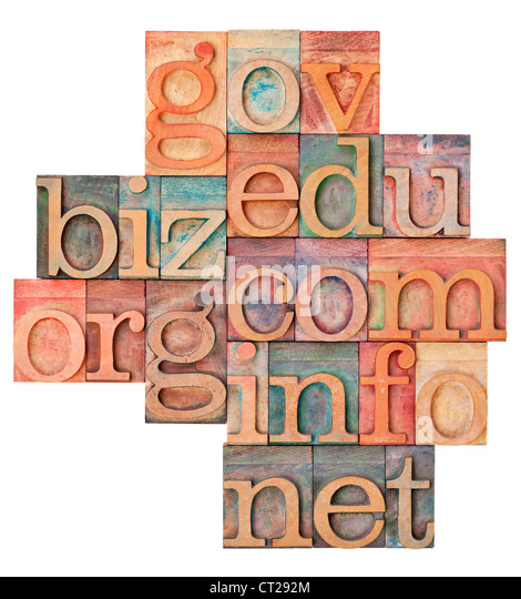 collage of popular internet domain extensions (org, biz, gov, net, info, edu, com) - vintage letterpress wood type - Stock Image