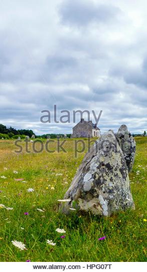 France, Brittany (Bretagne), Morbihan department, Carnac. Neolithic standing stones at Alignements de Carnac (Carnac - Stock Image