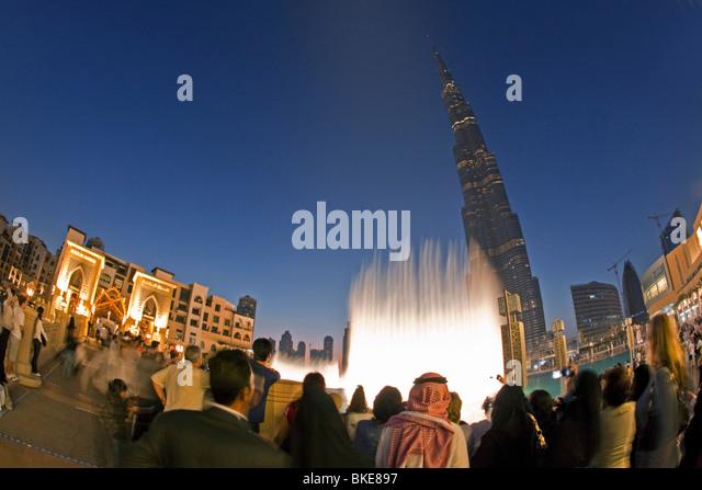 Duabai Fountain at Burj Khalifa, highest Skycraper in the World, 828 meter, Burj Dubai, Dubai United Arab Emirates - Stock Image