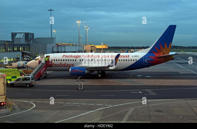 Jet2 package holidays plane,at Manchester International Airport, at dusk - Stock Image