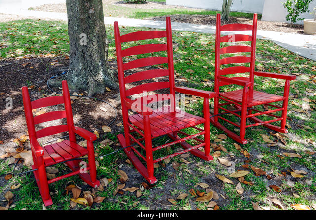 Beaufort South Carolina Santa Elena History Center heritage library ancestry research garden rocking chairs red - Stock Image