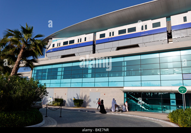 Metro Station at Palm Jumeirah near Atlantis Hotel in Dubai, United Arab Emirates - Stock Image