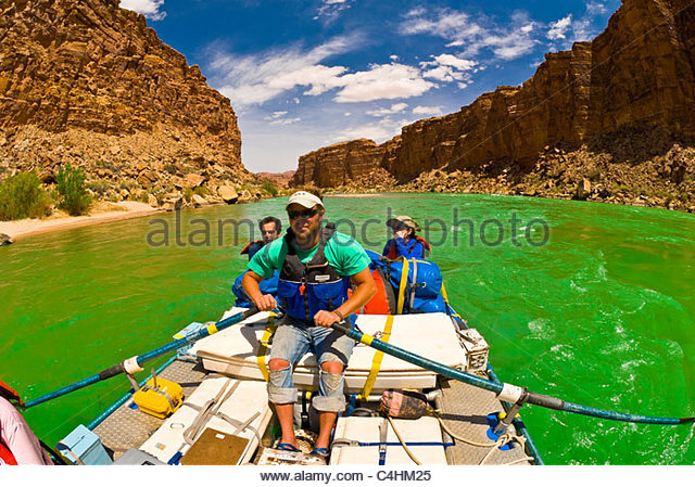 Grand Canyon whitewater rafting trip in Marble Canyon, Glen Canyon National Recreation Area, Colorado River, Arizona - Stock Image