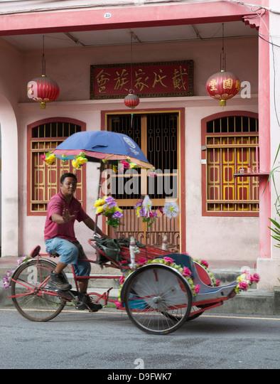 Rickshaw in Chinatown, Georgetown, Pulau Penang, Malaysia, Southeast Asia - Stock Image