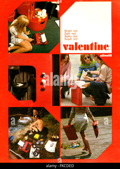 1960s UK Olivetti Valentine Magazine Advert - Stock Image