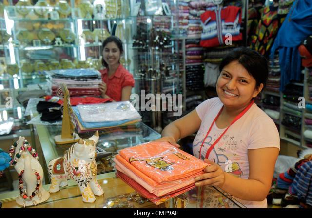 Lima Peru Surquillo Avenida Ricardo Palma Artesanias Miraflores handicrafts store souvenir shopping decor textiles - Stock Image