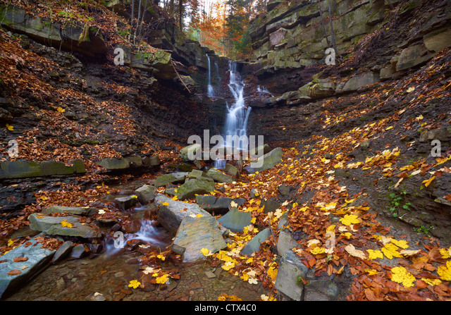 Waterfall in The Zywiec Beskids, Poland, Europe - Stock Image