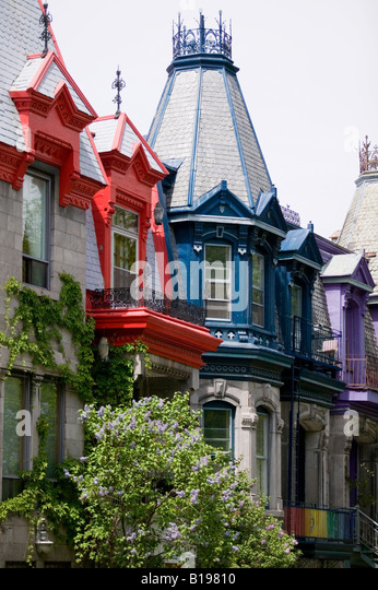 colourful victorian house details around Saint-Louis Park, Montreal, Quebec, Canada - Stock Image