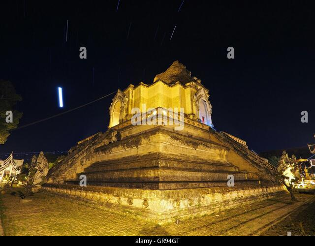 Low Angle View Of Illuminated Historical Temple Against Sky At Night - Stock Image