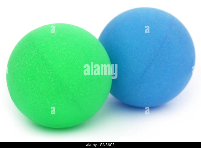 Table tennis balls over white background - Stock Image