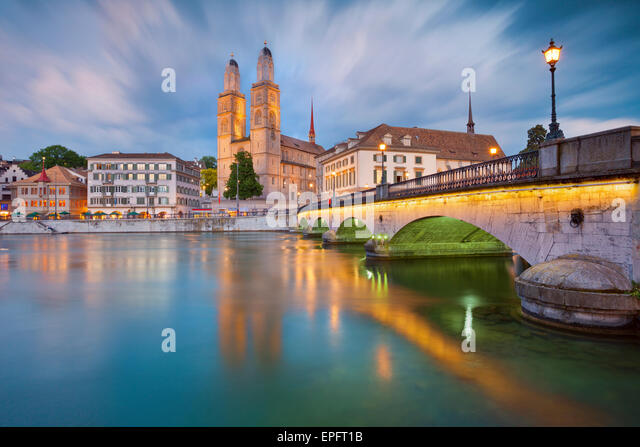 Zurich. Image of Zurich during dramatic sunset. - Stock Image