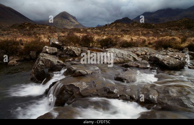 A moody,afternoon at Glen Sligachan, Isle of Skye, Scotland, United Kingdom, Europe - Stock Image