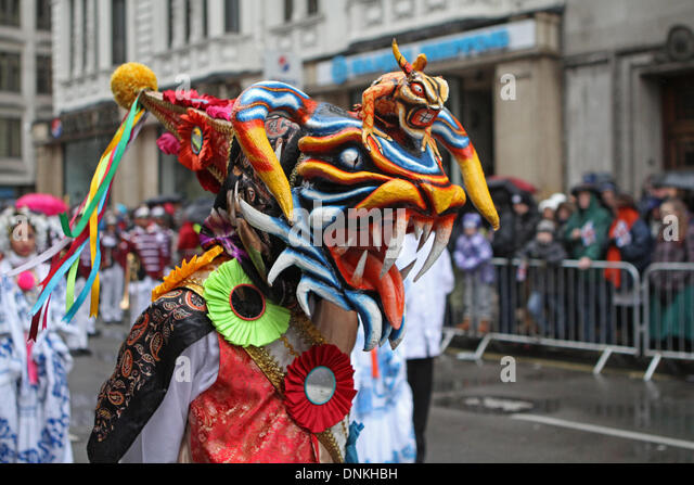 London,UK,1st January 2014,A colourful mask at the London's New Year's Day Parade 2014 Credit: Keith Larby/Alamy - Stock Image