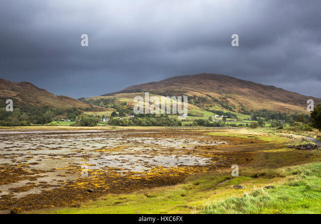 Storm clouds over tranquil rolling hills, Appin, Argyll, Scotland - Stock Image