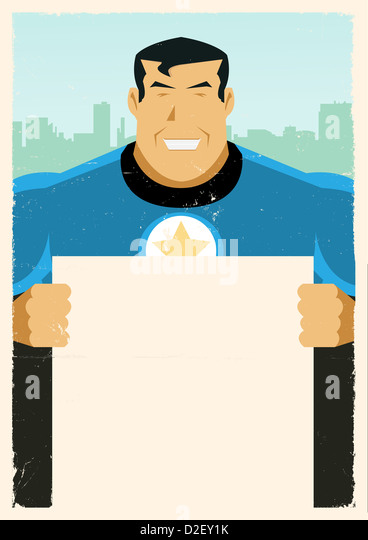 Illustration of a stylized Super Hero holding advertisement sign - Stock Image