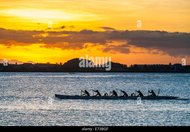 Evening rowing in the bay of Apia, Upolu, Samoa, South Pacific, Pacific - Stock Image