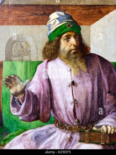The ancient Greek philosopher, Aristotle (384-322 BC), a 15thC painting from the Palazzo Ducale, Urbino, attributed - Stock Image
