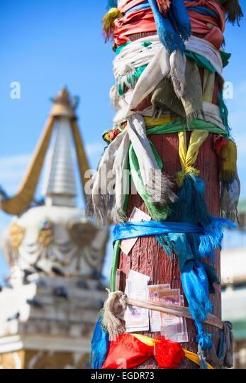 Wish post and Stupa, Gandan Monastery, Ulaanbaatar, Mongolia - Stock Image