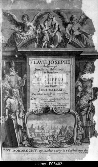 Title Page from 'The History of the Jews' by Titus Flavius Josephus (37 A.D. - 100 A.D.) 1665 Edition. Dated - Stock Image