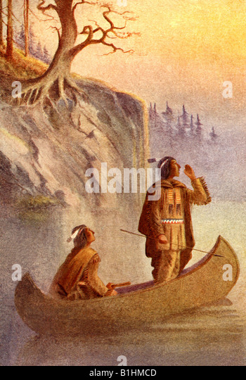 American Indians in a Canoe - Stock Image