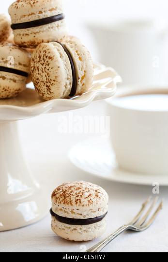 Chocolate macarons - Stock Image