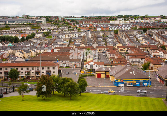 The renowned Catholic Bogside, a home of the Irish Republican movement in the city of Londonderry in Northern Ireland - Stock Image