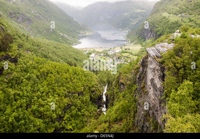 Geiranger norway town stock photos geiranger norway town stock images alamy - The house on the rock the ultimate refuge in a norwegian fjord ...