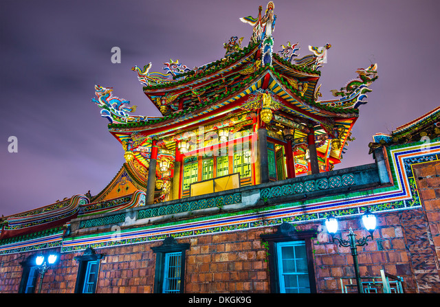 Longshan Temple outer wall detail Taipei, Taiwan. - Stock Image