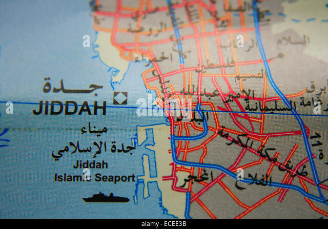 Jeddah map in Kingdom of Saudi Arabia - Stock Image