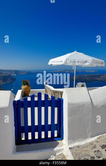 Entrance to a seating area at the honeymoon petra villas,Santorini Greece - Stock Image