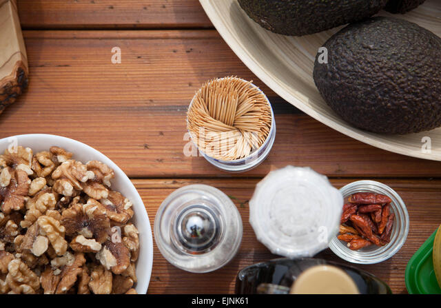 vegan and vegetarian fruit, vegetables and nuts, - Stock Image
