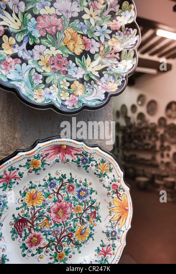 Close up of decorative pottery - Stock Image