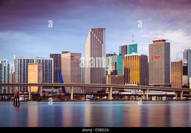 Downtown Miami, Florida, USA from Biscayne Bay. - Stock Image