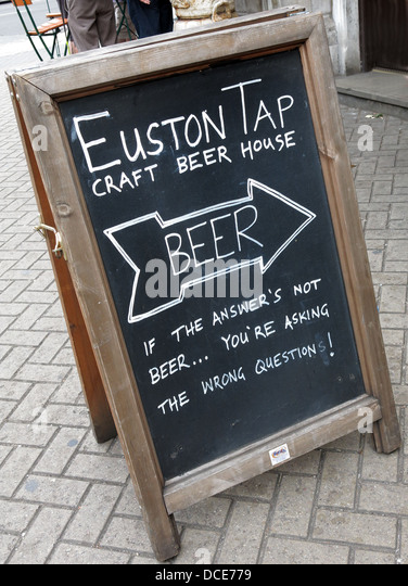 Craft beer Tap sign at Euston Station London - Stock Image