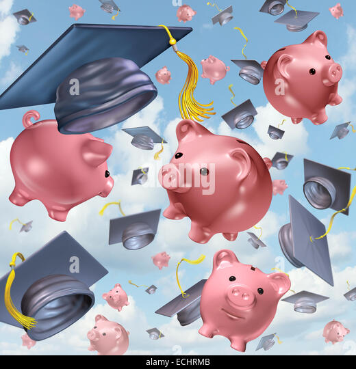 Education savings concept as a group of mortarboards or graduation hats thrown in the air with ceramic piggybanks - Stock Image