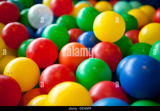 colorful kids soft balls - Stock Image