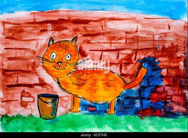 Cartoon Tiger Cat Building A Brick Wall