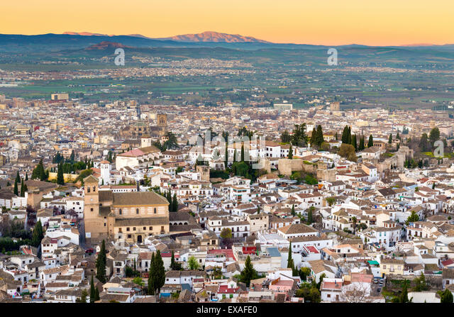 Cityscape of Granada including the Iglesia del Salvador, Granada, Andalucia, Spain, Europe - Stock-Bilder
