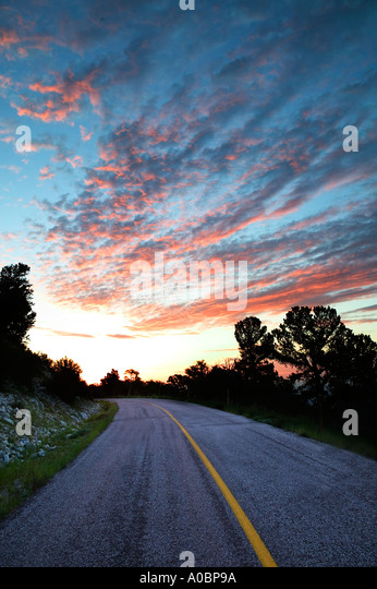 Road in Great Basin National Park at Sunrise Nevada - Stock Image