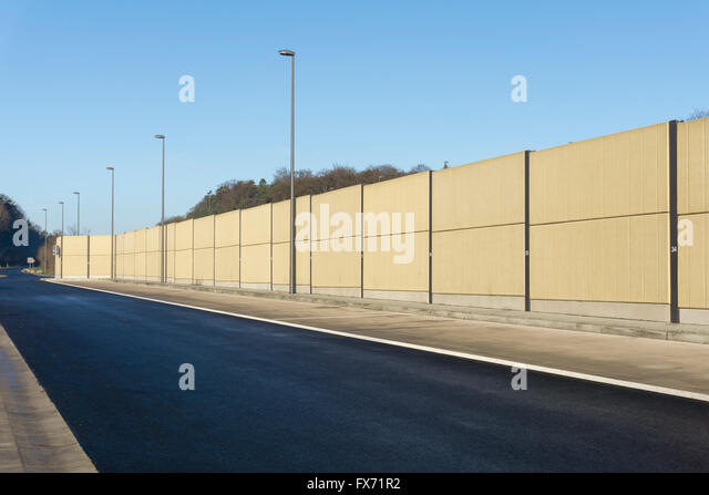 Noise barrier, motorway lay-by, Hesse, Germany - Stock Image