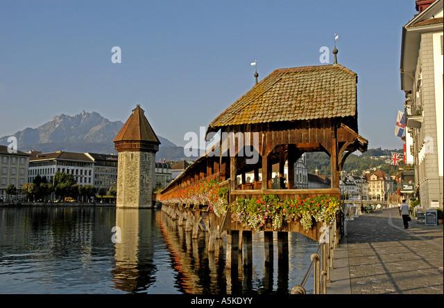 Lucerne luzern Switzerland Chapel Bridge The Kapellbruecke octagonal water tower city scenic skyline - Stock Image